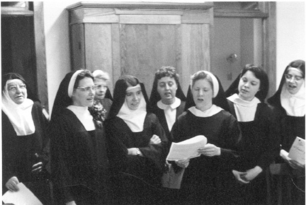 Feb. 2, 1969   Singing: Spouse of Christ - picture taken by John Howard Griffin  (Sisters Veronica, Miriam and Teresa are not on this picture)