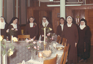 Sisters Emmanuel, Carol, Mary Anne, Therese, Catherine, Mother Gabriel, Miriam