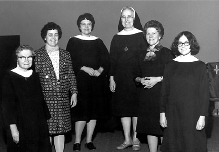 1973 - Sisters Miriam Meade, Catherine Luth, Mary Anne Schuman, Rozanne Heller, Anita Schuman, Margaret Ribley